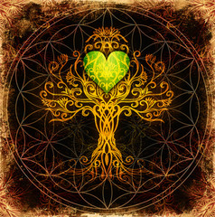 tree of life symbol on structured ornamental background with heart shape, flower of life pattern, yggdrasil.