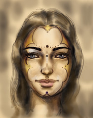 mystical sacred goddess, young woman face, computer drawing.