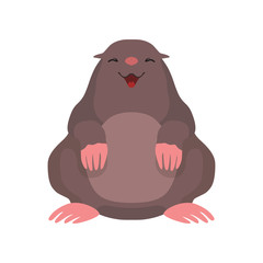 Cute mole, lovely animal cartoon character front view vector Illustration