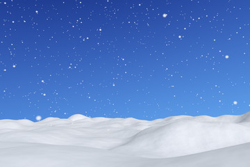 White snowy field with snowfall winter background