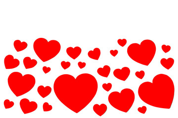 Many red paper hearts in form of decorative frame on white background with copy space. Symbol of love and Valentine's day.