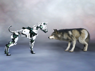 3D rendering of a robot dog meeting a wolf.