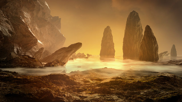 Fantasy landscape with fog, water and stone.