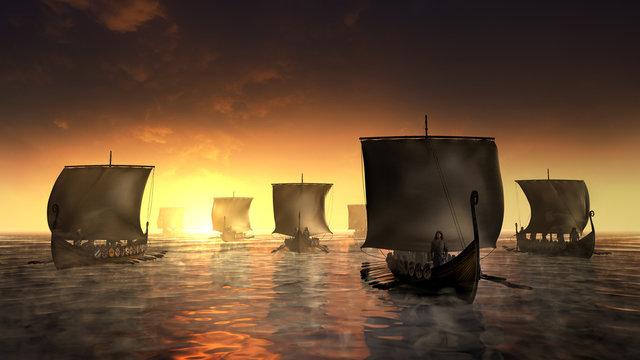 Vikings ships on the misty water.