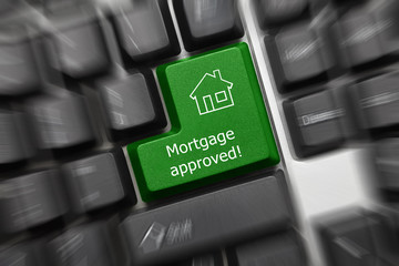 Conceptual keyboard - Mortgage approved (green key). Zoom Effect