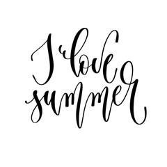 I love summer - hand lettering inscription text