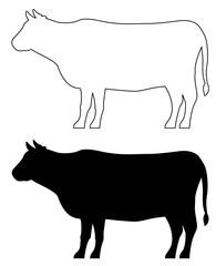 牛のシルエット