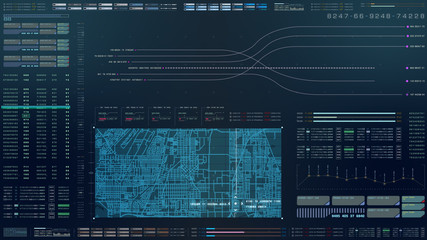Wall Mural - Futuristic motion graphic user interface head up display screen with digital data city map telemetry information display for digital background computer desktop display screen