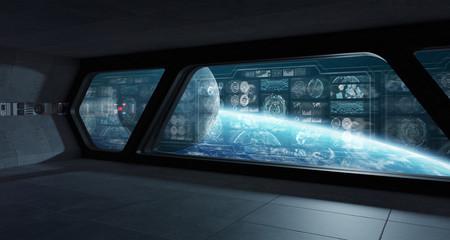 Dark spaceship interior with control panel digital screens 3D rendering