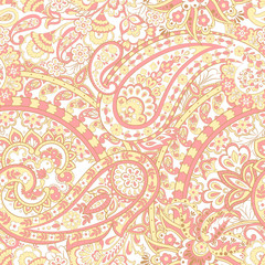 Seamless pattern with paisley ornament. Ornate floral decor. Vector illustration