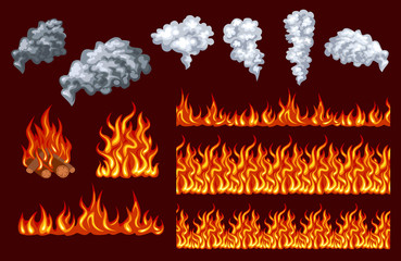 Fire vector set. Flames and smoke isolated on dark background. Bonfire. Different horizontal fire flames. Fire seamless pattern, border.  Simple flat style.