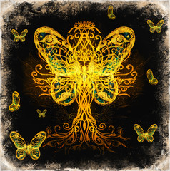 tree of life symbol and butterfly on structured ornamental background, yggdrasil.