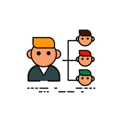 illustration of business worker transfer into multiple worker on white background isolated