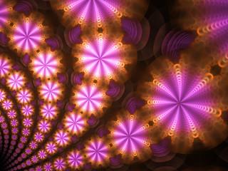 Pink and Orange Circular Starburst Flame Fractal