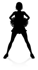 Cheerleader detailed silhouette with pom poms