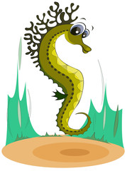 Green seahorse on the seabed. Cartoon character