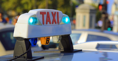French luminous taxi top sign in Paris France
