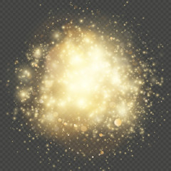Light gleaming effect. Soft realistic fireworks with glitter splatter elements. Shining circles bokeh particles outburst. Isolaed on transparent background. EPS 10
