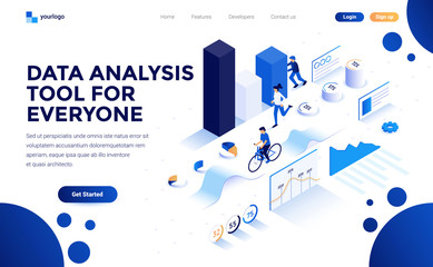 Modern flat design isometric concept of Data Analysis tool for everyone for website and mobile website. Landing page template. Easy to edit and customize. Vector illustration