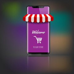 Mobile phone with store or market striped awning and shopping icon or cart. Vector illustration.