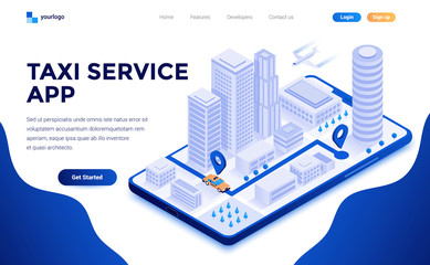 Modern flat design isometric concept of Taxi Service app for website and mobile website. Landing page template. Easy to edit and customize. Vector illustration