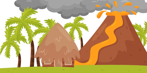 Flat vector scene of volcanic eruption. Hot lava flowing to small house. Landscape with palm trees. Natural disaster Fototapete