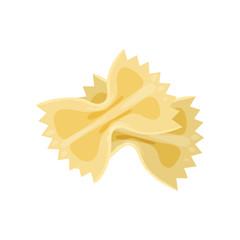Pasta farfalle. Italian macaroni in shape of bow. Organic food. Cooking theme. Detailed flat vector design