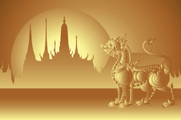 gold traditional lion with temple and sunshine background