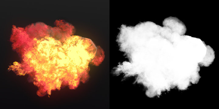 Large explosion with black smoke in dark plus alpha channel. 3d rendering