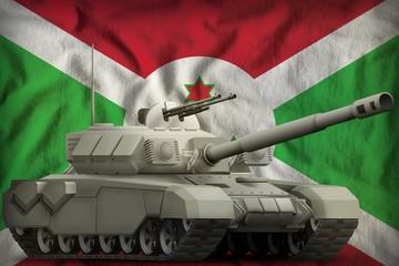 heavy tank on the Burundi national flag background. 3d Illustration
