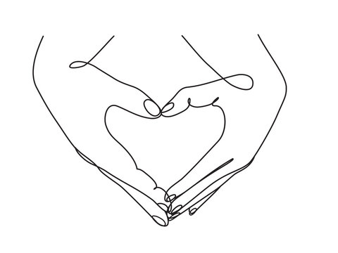 continuous line drawing of hands showing love sign
