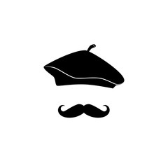 French man in beret, gentleman vector icon.