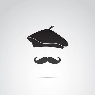 French man, artist in beret vector icon.