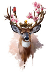 Deer, red-breasted bird and flowers