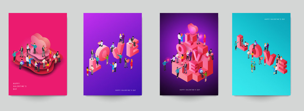 Happy valentine's day beautiful design template. Minimal composition in 3d isometric view. Set holiday background for branding greeting card, banner, cover, flyer or poster. Vector illustration.