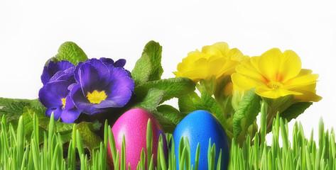 Ostereier mit Blumen als Banner