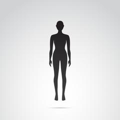 Woman silhouette vector icon.