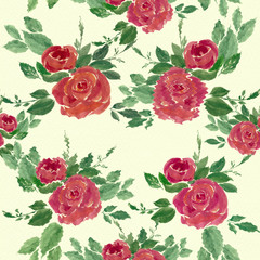 Flowers roses,buds and leaves on a watercolor background.Seamless background.Collage of flowers and leaves. Chinese brush drawing on rice paper.Use printed materials, signs, objects, websites, maps.