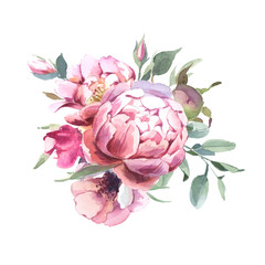 Watercolor  Bouquet of peony and blosom flowers isolate in white background for wedding, invitation, valentine cards and prints