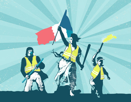 Concept illustration of France yellow vests B