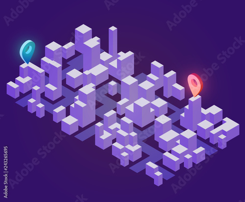 Abstract 3d isometric city map with silhouetes buildings and