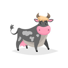 Cartoon black spotted cow. Farm funny animal isolated on white background. Flat trendy style. Vector illustration.