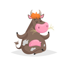 Cartoon brown spotted sitting in meditation pose cow. Farm funny animal chewing straw and relaxing. Isolated on white background. Flat trendy style. Vector illustration.