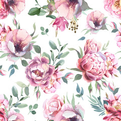Watercolor seamless pattern of peony and blosom flowers on white background for wedding, invitation, valentine cards and prints
