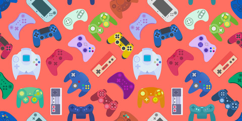 Video game controller background Gadgets seamless pattern Colored Living Coral