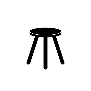 Wooden stool, chair vector icon.