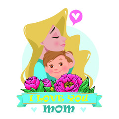 Mother's love.Mom's hug. Mom and son.Vector illustration. Card on Mother's Day