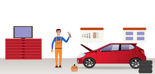 Man-mechanic in the garage (auto repair service) near a car