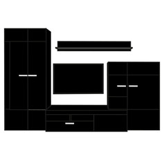 isolated silhouette of furniture wardrobe and TV