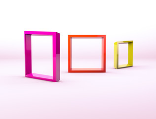 Abstract 3d composition. Colorful empty picture frames backdrop for product display with geometric 3d elements.